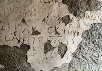 Oldest visitor date from 1775 on the plaster covering the rock wall.