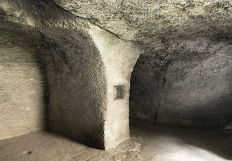 The cellars of the north-west wing dug into the bedrock.